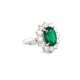 Certified Zambian Oval Cut Emerald 3.22 Carat Total Diamond Platinum Ring