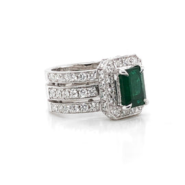 Zambian emerald 1.75 carat diamonds platinum cocktail ring