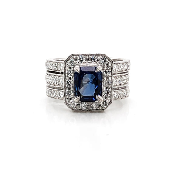 Ceylon sapphire 1.98 carat diamonds 2.12 ct platinum cocktail ring