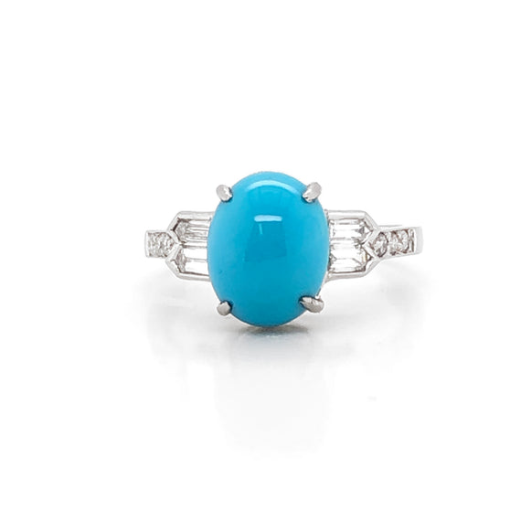 Oval Turquoise 3.28 carat diamond platinum cocktail ring