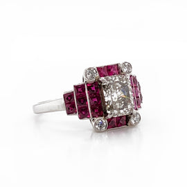 Fancy light yellow diamonds 1.12 carat rubies 1.28 carat platinum cocktail ring