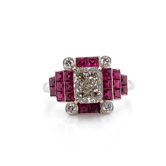 Fancy light yellow diamonds 1.12 carat rubies 1.12 carat platinum cocktail ring