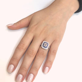 GIA Certified Emerald Cut Diamond 1.01 Carat Sapphires Diamonds Cocktail Ring