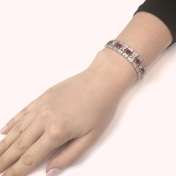 Art Deco Inspired Burmese Cushion Cut Rubies 14.11 Carat Platinum Link Bracelet