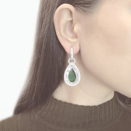 Zambian Pear Cut Emeralds 13.52 Carat Diamonds 7.58 Carat 18 Karat Earrings