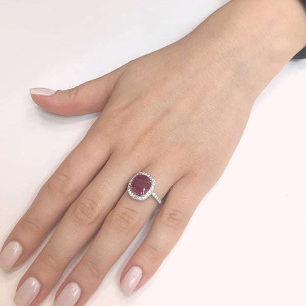 Burmese cushion ruby 5.06 carat diamond cocktail platinum ring