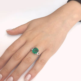 Zambian cushion emerald 5.45 carat half moon diamonds 1.06 ct platinum cocktail ring