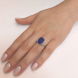 Certified Ceylon Sapphire 8.76 Carat Baguette Diamonds Platinum Ring