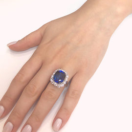 Ceylon Cushion Sapphire 12.28 Carat Diamonds Platinum Cocktail Ring