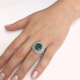 Certified Zambian Cushion Cut Emerald 3.13 Carat Diamond Platinum Cocktail Ring