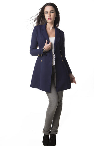 Lavina Frayed Tweed Coat