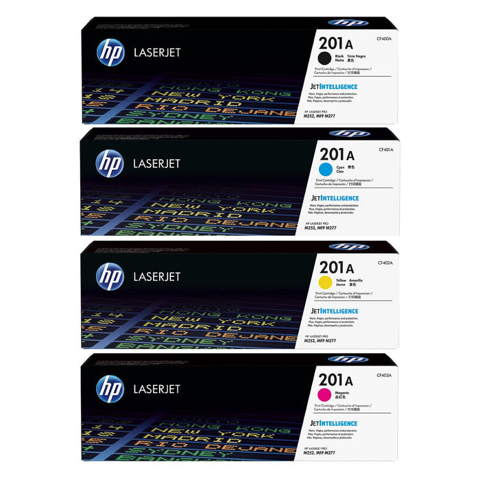 Genuine 4 Colour HP 201A Toner Cartridge Value Set B/C/M/Y CF400A / CF401A / CF402A / CF403A - HP M252 / M277