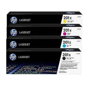 Genuine 4 Colour HP 201X Toner Cartridge Value Set High Capacity B/C/M/Y CF400X / CF401X / CF402X / CF403X - HP M252 / M277