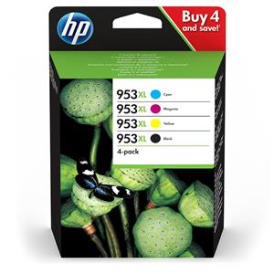 HP 953XL Black and Colour High Yield 4 Pack Ink Cartridges