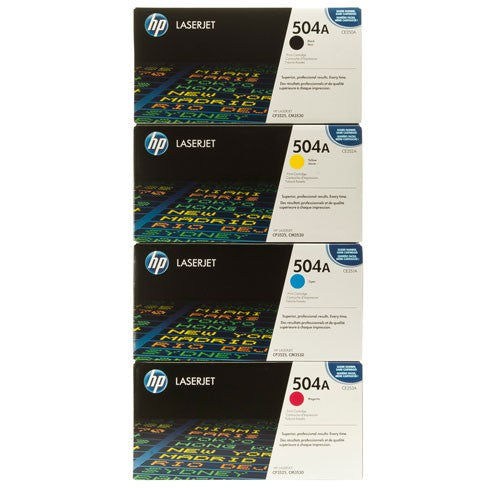 Genuine 4 Colour HP 504A Toner Cartridge Value Set Black Cyan Magenta Yellow CE250A / CE251A / CE252A / CE253A - CM3530 / CP3525