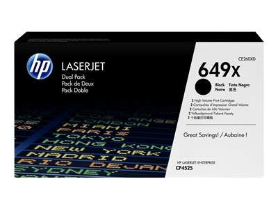 HP CE260X Black High Capacity Dual Pack Toner Cartridge 649X