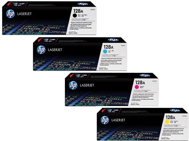 Genuine 4 Colour HP 128A Toner Cartridge Value Set Black & Colours CE320A / CE321A / CE322A / CE323A