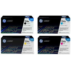Genuine 4 Colour HP 124A Toner Cartridge Value Set B/C/M/Y Q6000A / Q6001A / Q6002A / Q6003A