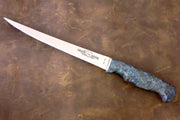 "Custom Fillet 8"" - Aqua Dyed Maple Burl Handle"