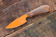 Custom M1 Caper - Natural Burlap Micarta - Orange Cerakote