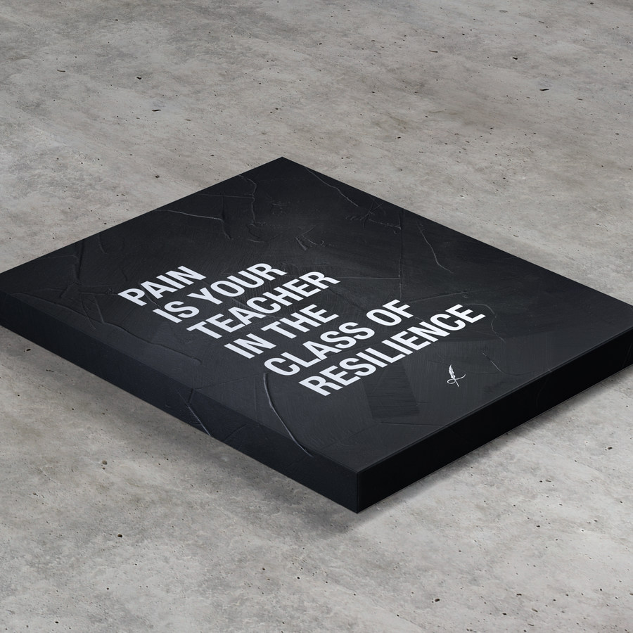 A slashed, luxurious canvas print by Lowly Lyricist. A meaningful quote that reads: Pain is your teacher in the class of resilience. Minimalistic, fine artist materials designed to compliment any home or work space. 450GSM | Multiple textures available.