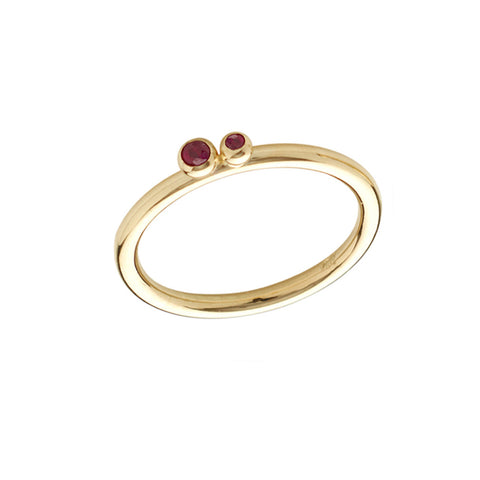 Ruby and gold band. Two small rubies set on a slim round shank. Perfect for stacking.