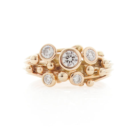 Multi Diamond Gold Ring