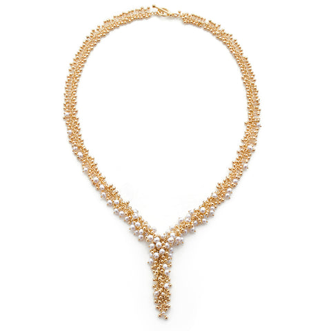 Statement Gold and Pearl Statement Necklace