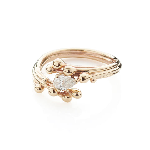 Pear Diamond Yellow Gold Ring