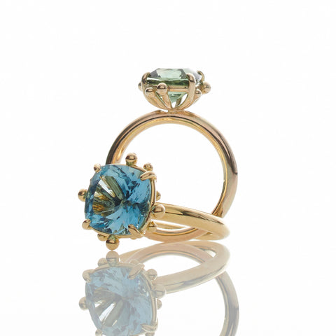 Cushion Cut Aquamarine Gold Ring