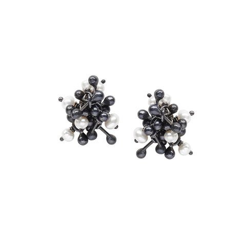 A cluster of oxidised silver and pearls. Stud Earrings from Yen Jewellery