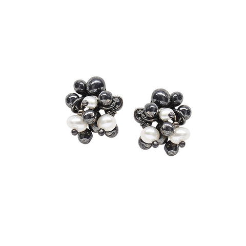 Small cluster stud earrings. Oxidised silver and freshwater pearls. Handmade by Yen Jewellery