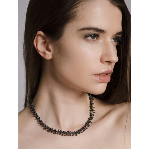 Black Silver and Pearl Necklace