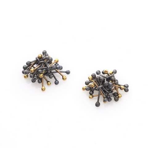 Gold and Oxidised Silver Starburst Earrings