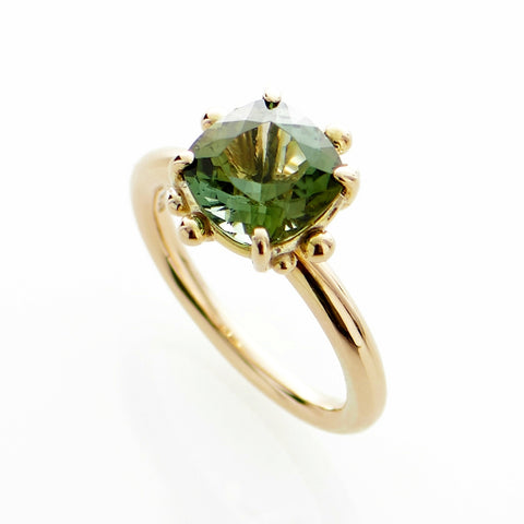 Cushion Cut Green Tourmaline Gold Ring