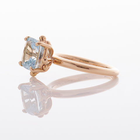 Cushion Aquamarine 18ct Gold Ring