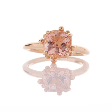 Cushion Morganite Peach 14ct Gold Ring