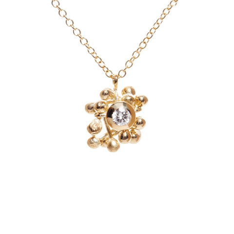 18ct gold and diamond necklace.  A rich gold cluster of elements and one central diamond. Handmade by Yen Jewellery