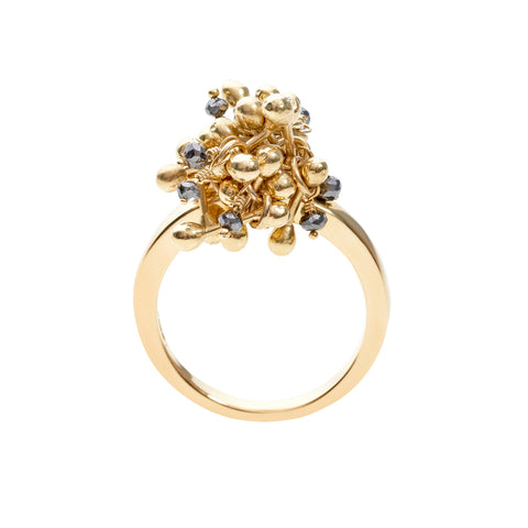 Side profile of 18ct gold and black diamond ring. Handmade by Yen Jewellery