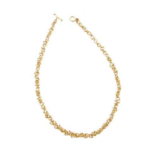 An 18ct yellow gold chain necklace. Tiny golden interlocking orbs create a luxurious chian necklace that will match every outfit, day or evening.