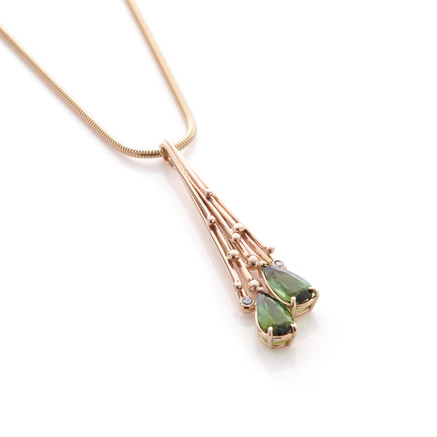 Tourmaline and Diamond Drop Pendant