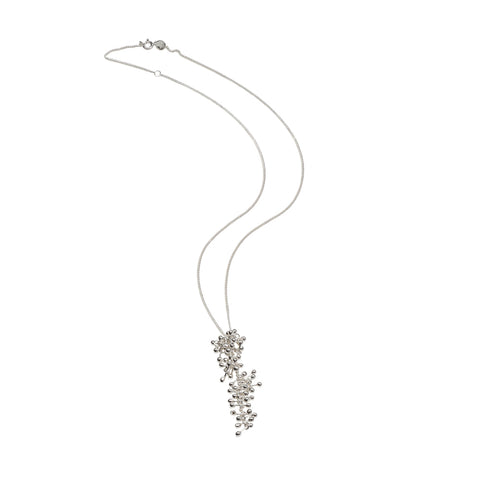 Full profile of silver molecule chain necklace. Yen Jewellery