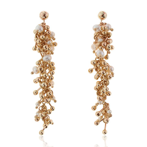 Pearls and gold Drop Statement Earrings