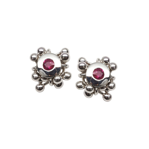 "Yen Jewellery Ruby Cluster Earrings with Silver ""Molecules"""