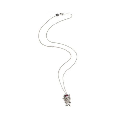 Silver Ruby Drop Necklace