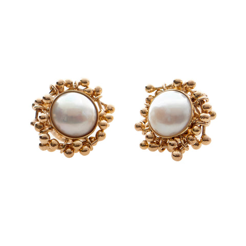 Pearl Gold Stud Earrings