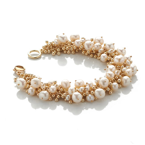Gold and Pearls Statement Bracelet