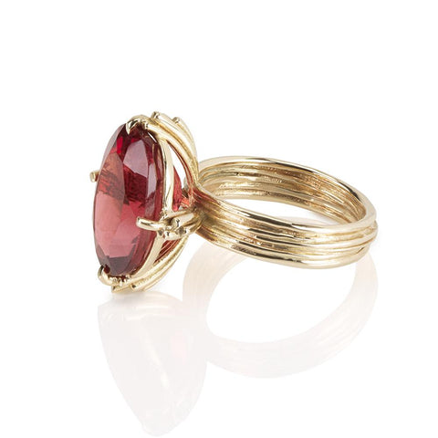 Statement Oval Red Tourmaline 9ct Gold Ring