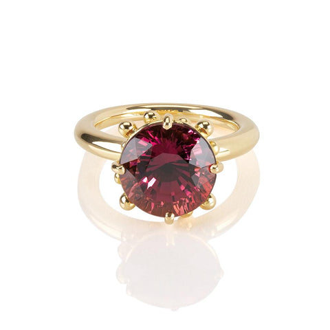 Round Pink Touramline 18ct Ring