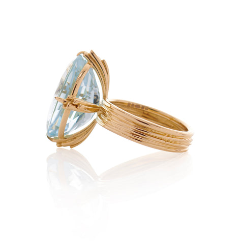 Statement Oval Aquamarine 18ct Gold Ring